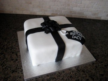 Black and White Birthday Present Cake